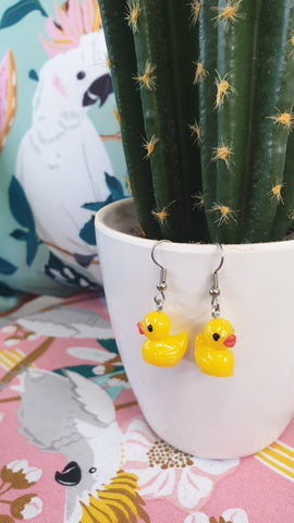 Louella DeVille Rubber Ducky Hook Earrings (2 Colours!)