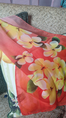 Sunshine Long Scarf/Turban Red Frangipani