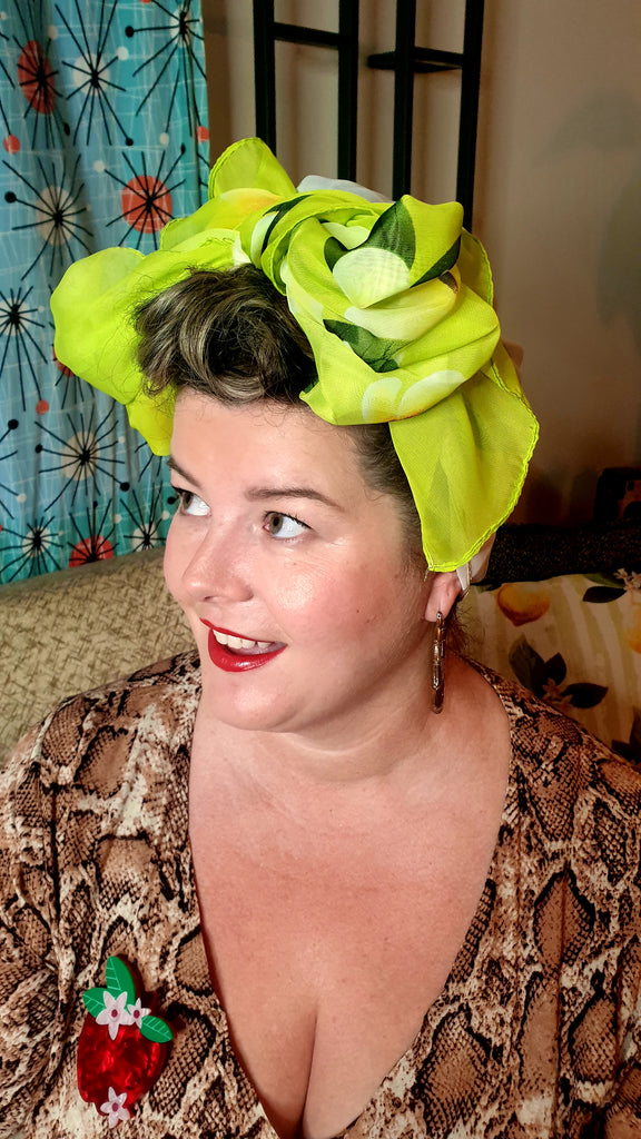 Sunshine Long Scarf/Turban Green Frangipani