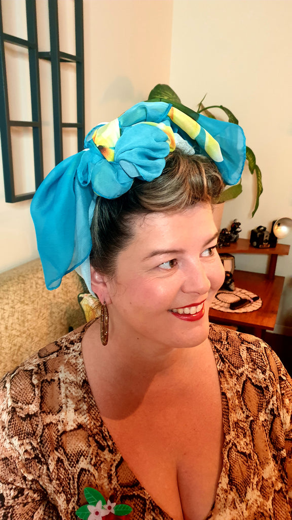 Sunshine Long Scarf/Turban Teal Frangipani