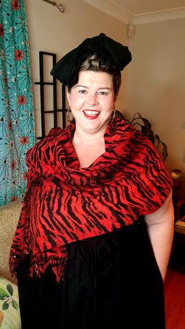 Jungle Fever Fleece Warm Scarf Red Tiger