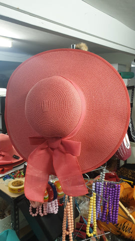 Sunshine Harvest Oversize Bow Hat Watermelon Pink