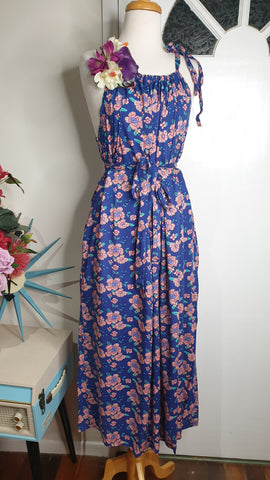 Sunshine Tara Tiki Maxi Dress 70s Boho Blues