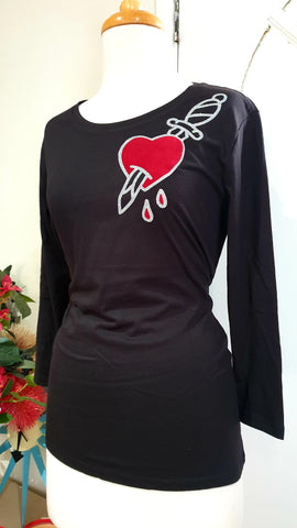 Louella DeVille Black 3/4 Sleeve Love Hurts Top