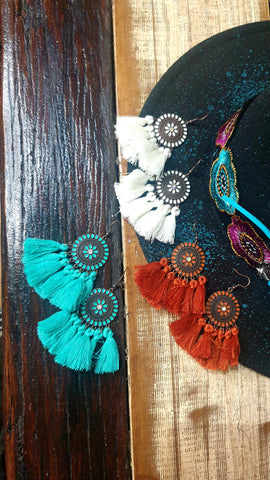 Bronze Tassel Western Earrings (various colours!)
