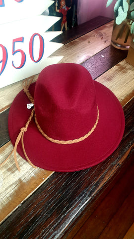 Louella DeVille Round Up Felt Hat Oxblood Red/Tan