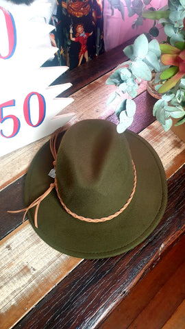 Louella DeVille Round Up Felt Hat Khaki Green/Tan