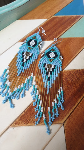 Boho Handmade Long Beaded Earrings White