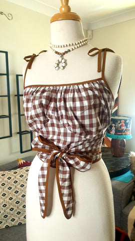 Louella DeVille Sandy Wrap Top Brown Gingham