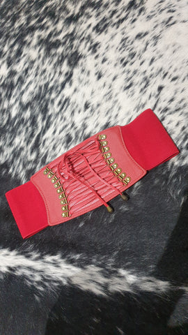 Louella DeVille Deep Red Leather Bronze Concho Belt