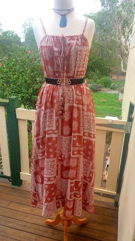 Sunshine Rustic Red Paisley Maxi Dress
