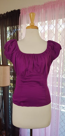 PRE LOVED! PUG Pinup Girl Clothing Purple Peasant Top