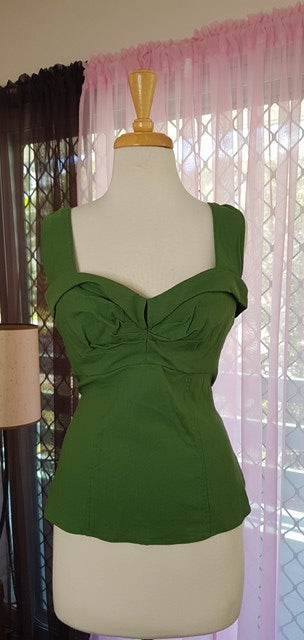 PRE LOVED! PUG Pinup Girl Clothing Tracy Lords Green Top