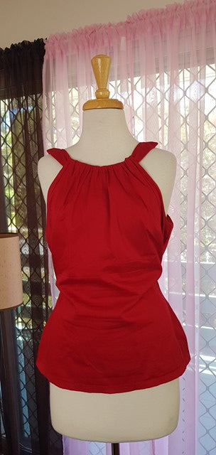 PRE LOVED! PUG Pinup Girl Clothing Red Harley Top