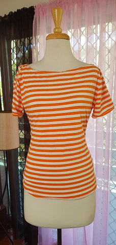 PRE LOVED! Bonsai Kitten Orange Stripe Top