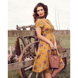 Lindy Bop Bretta Mustard Squirrel 40s Dress