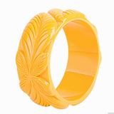 Jungle Carved Tiki Fakelite Bangle (Various Colours)
