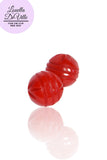 Louella DeVille Florence Carved Button Earrings (Various Colours)