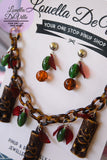 Merry Xmas Festive Cheeky Tiki Necklace & Earring Set