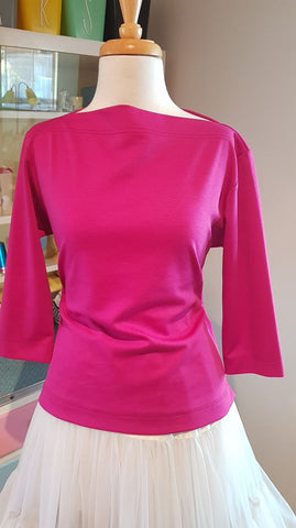 PRE LOVED! Vivian Of Holloway Hot Pink Boater Top sz Large