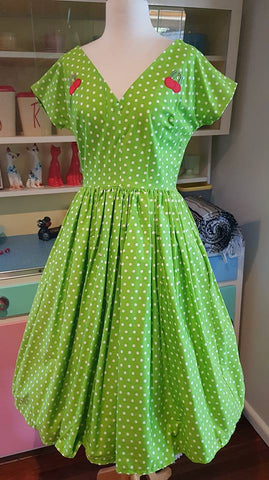 PRE LOVED! Hot Couture Green Polka Dot Cherry Swing Dress sz M
