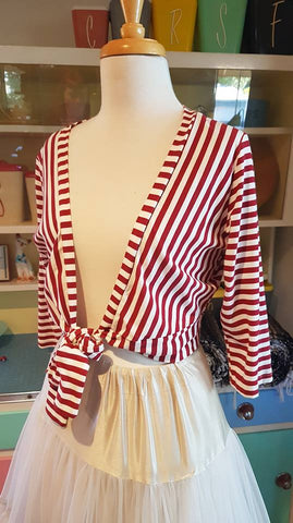 PRE LOVED! Heart Of Haute Red Stripe Tie Top