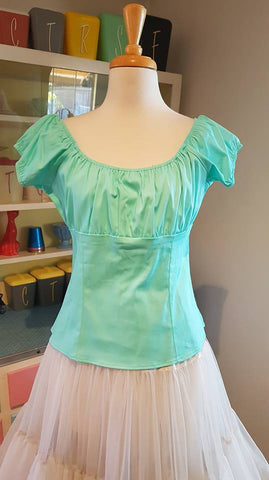 PRE LOVED! Pinup Girl Clothing PUG Mint Green Peasant Top sz XL