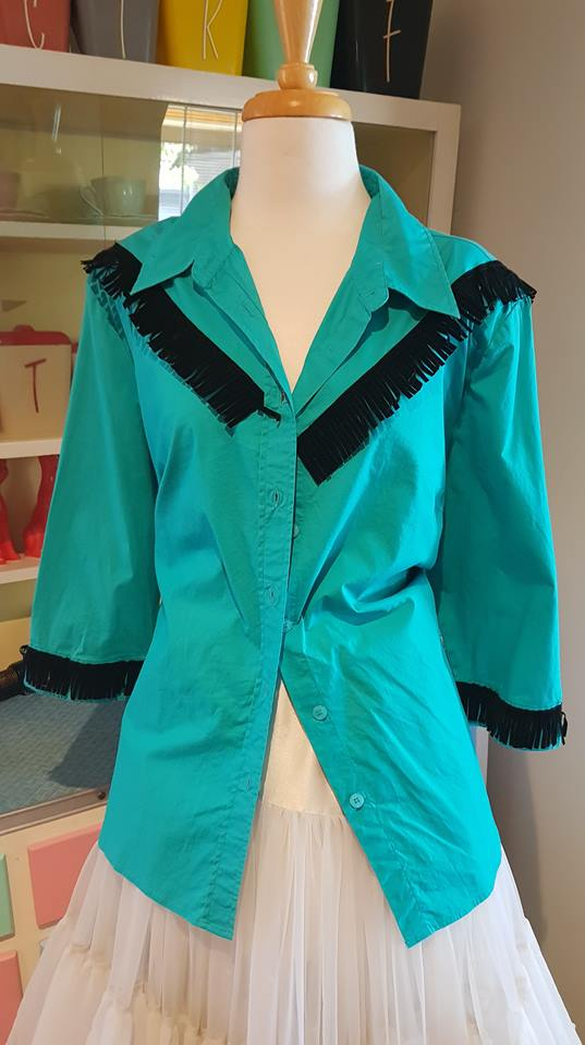 PRE LOVED! 80s does 50s Rockabilly Western Blouse Teal Fringed sz 14