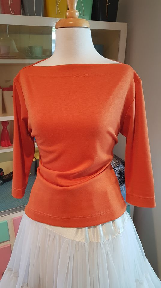 PRE LOVED! Vivian Of Holloway Rust Orange Boater Top sz Large
