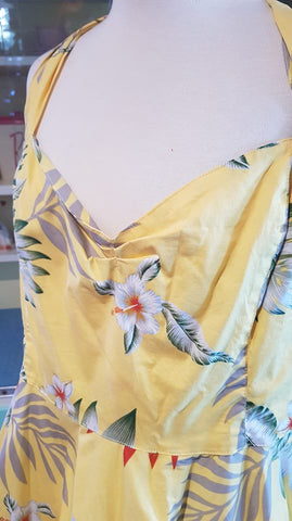 PRE LOVED! Hell Bunny Yellow Tiki Swing Dress sz 4XL
