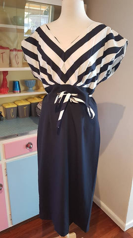 PRE LOVED! Bettie Page Ship Mate Navy Wiggle Dress Sz XL