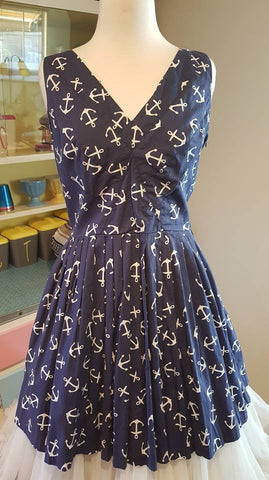 PRE LOVED! RARE Pinup Girl Clothing PUG Navy Anchor Dress sz Large