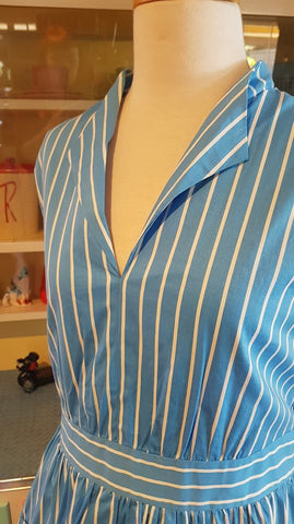 PRE LOVED! Lindy Bop Blue Stripe Butcher Swing Dress sz 14