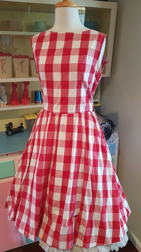 PRE LOVED! Lindy Bop Red Gingham Swing Dress sz 14