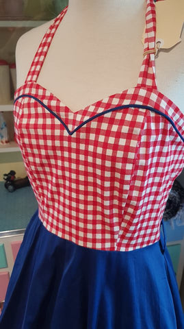 PRE LOVED! Dolly & Dotty Gingham & Blue Swing Dress Sz 12