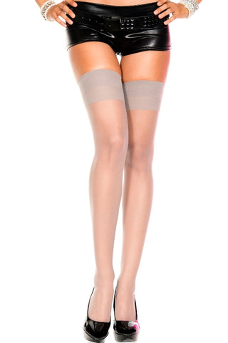 Music Legs 4101 Sheer Thigh Highs Grey