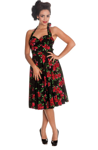 Timeless Elegance 40s Rose Border Floral Swing Dress