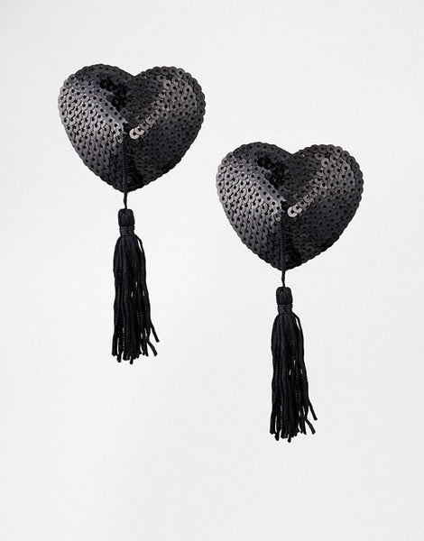 Heart Shaped Sequined Nipple Tassels Various Colours -1593