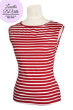 Louella DeVille Saddle Top Red White Stripe