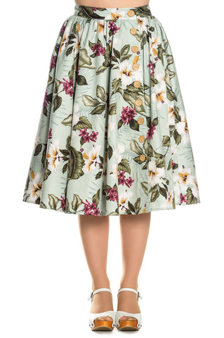 Hell Bunny Tahiti Print Swing Skirt Mint