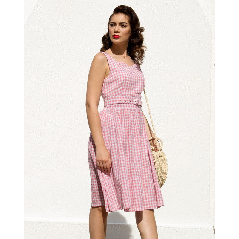 Lindy Bop Delta Pink Gingham Summer Swing Dress