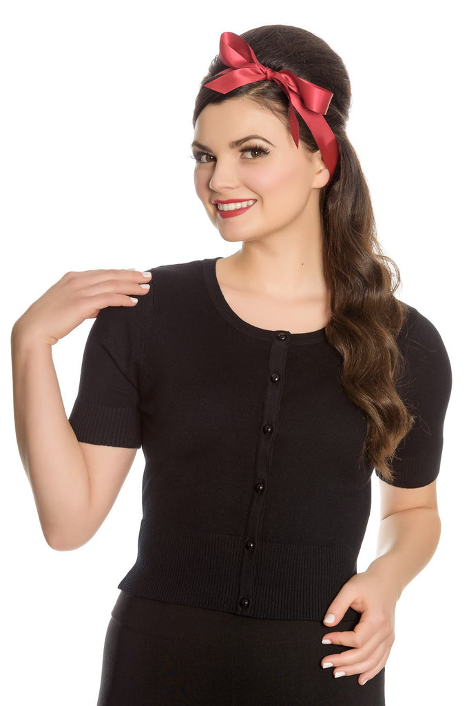 Hell Bunny Wendi Cardigan Crop Sleeves Black