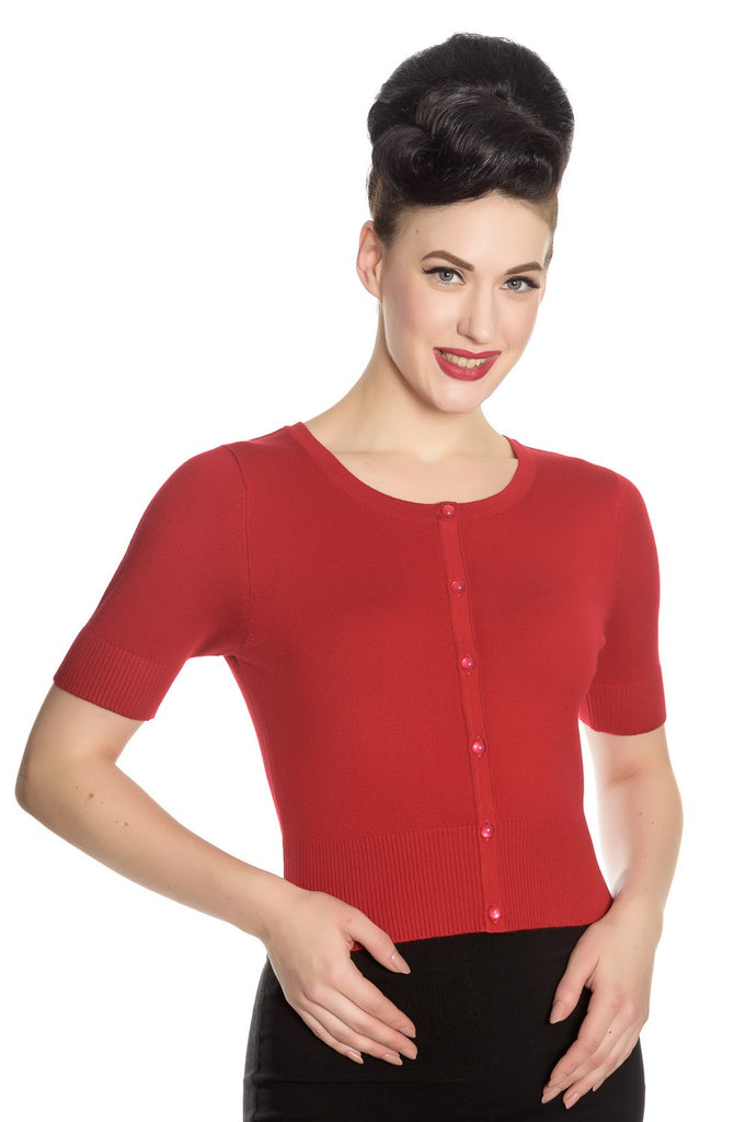 Hell Bunny Wendi Cardigan Crop Sleeves Red