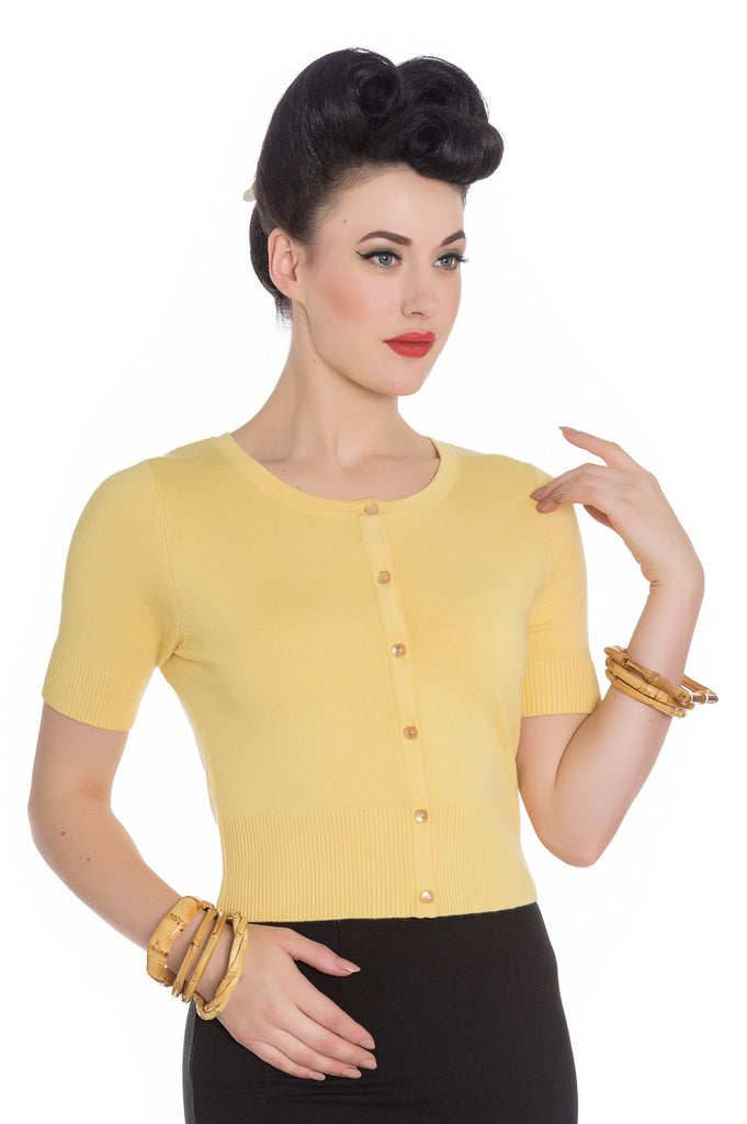 Hell Bunny Wendi Cardigan Crop Sleeves Yellow