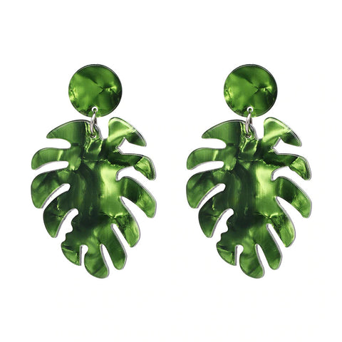 Slay All Day Green Marble Monstera Earrings