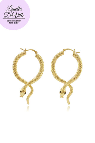 All Hallows Eve Golden Snake Hoop Earrings