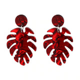 Slay All Day Red Marble Monstera Earrings
