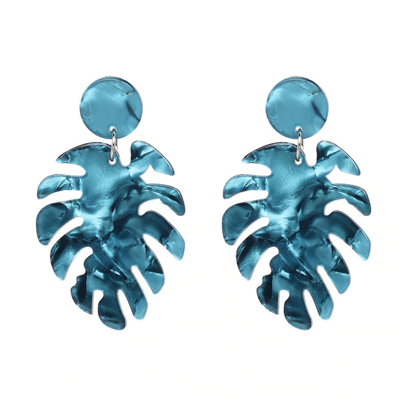 Slay All Day Blue  Marble Monstera Earrings