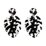 Slay All Day Black/White Marble Monstera Earrings