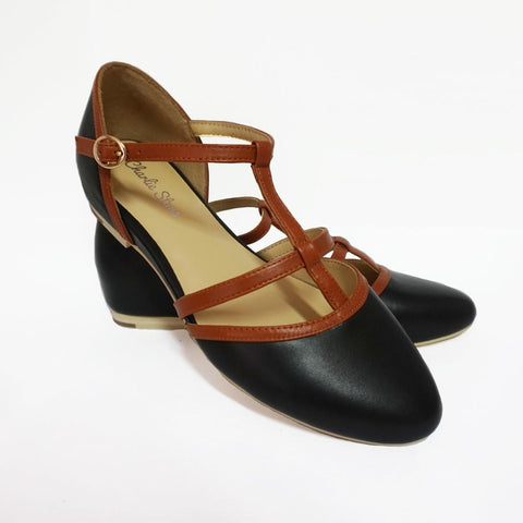 Charlie Stone Leather Bellagio Black Tan Flats